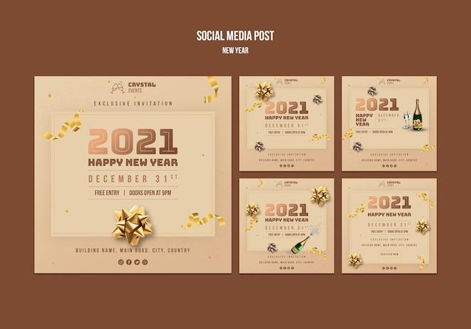 Modelo de postagem de mídia social do conceito de ano novo
