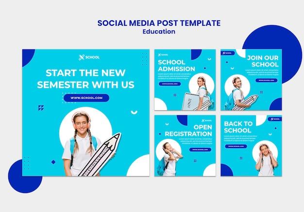 Modelo de postagem de mídia social do conceito de educação