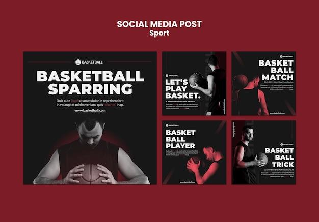 Modelo de postagem de mídia social do conceito de esporte