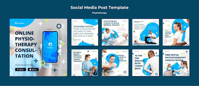 Modelo de postagem de mídia social do conceito de fisioterapia