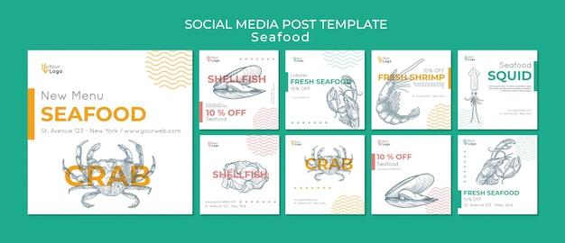 Modelo de postagem de mídia social do conceito de frutos do mar