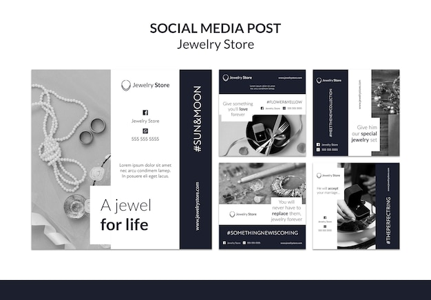 Modelo de postagem de mídia social do conceito de joalheria