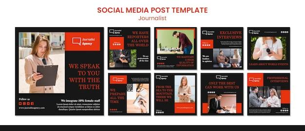Modelo de postagem de mídia social do conceito de jornalista