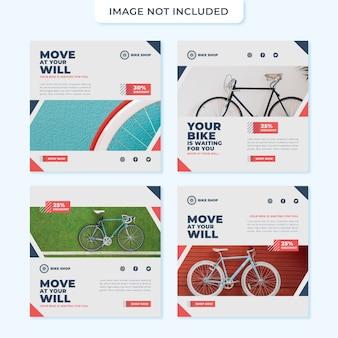 Modelo de postagem de mídia social do conceito de loja de bicicletas