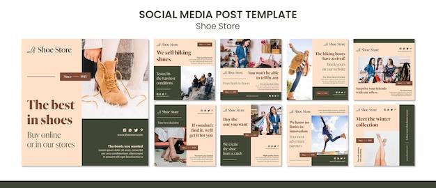 Modelo de postagem de mídia social do conceito de loja de sapatos