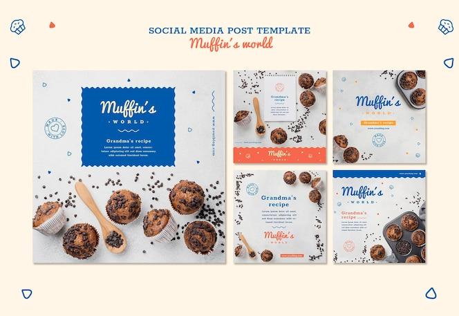 Modelo de postagem de mídia social do conceito de muffins