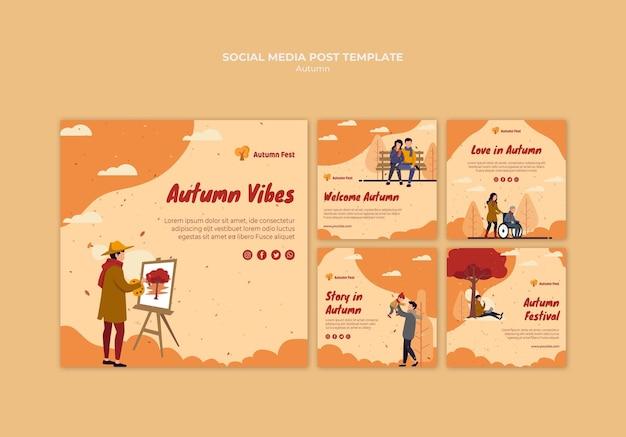 Modelo de postagem de mídia social do conceito de outono