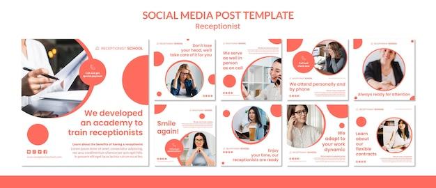 Modelo de postagem de mídia social do conceito de recepcionista