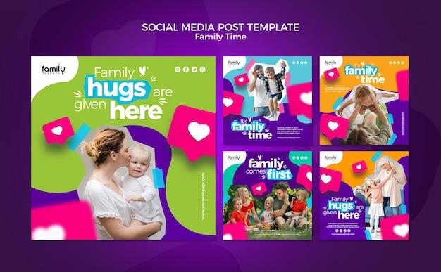 Modelo de postagem de mídia social do conceito de tempo para a família