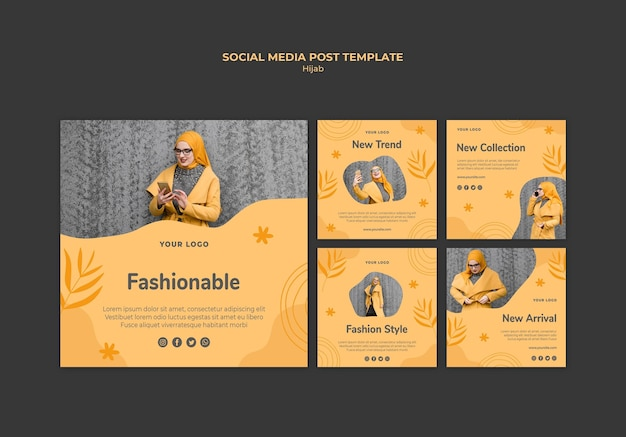 Modelo de postagem de mídia social do conceito hijab