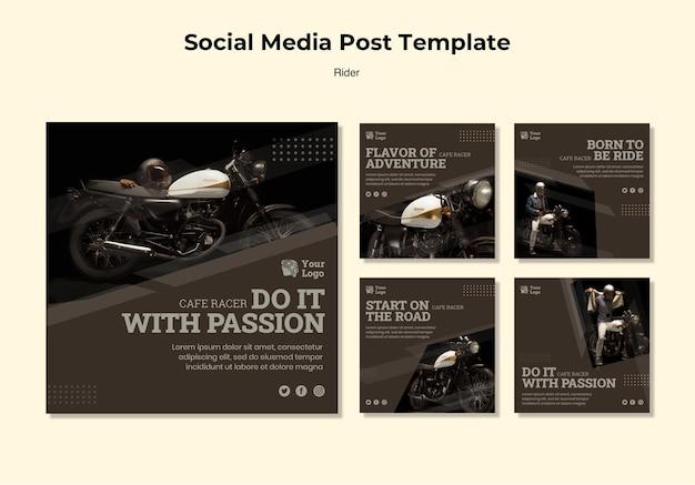 Modelo de postagem de mídia social do conceito rider