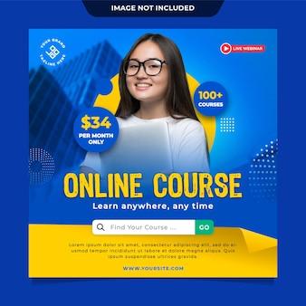 Modelo de postagem de mídia social do curso online