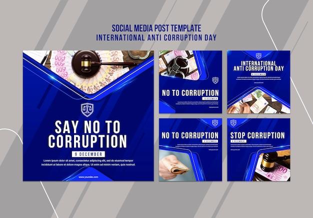Modelo de postagem de mídia social do dia anticorrupção
