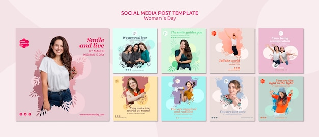 Modelo de postagem de mídia social do dia das mulheres