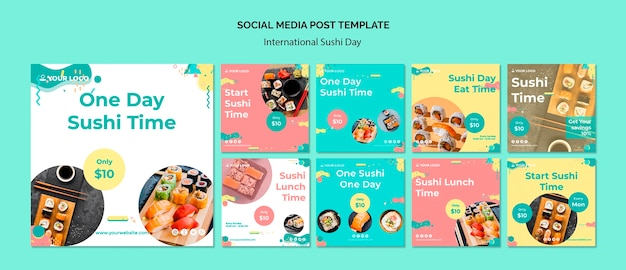 Modelo de postagem de mídia social do dia internacional do sushi
