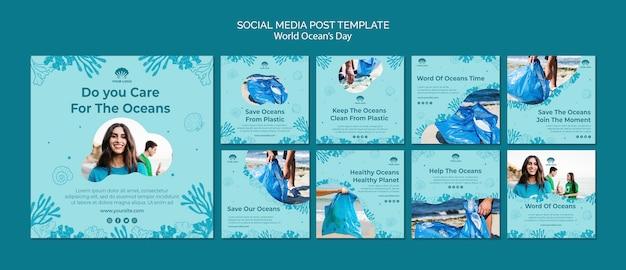 Modelo de postagem de mídia social do dia mundial do oceano