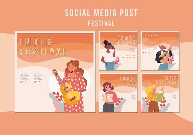 Modelo de postagem de mídia social do festival