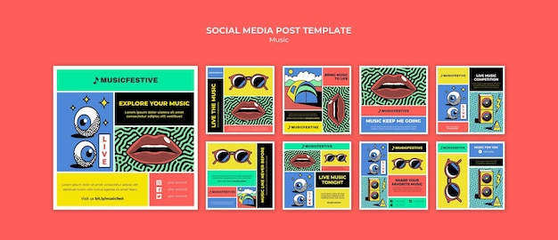 Modelo de postagem de mídia social do music fest