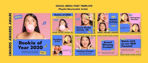 Modelo de postagem de mídia social do novato do ano