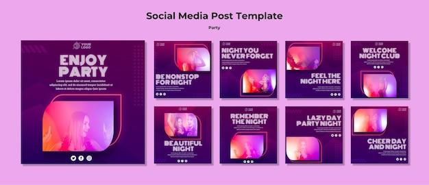 Modelo de postagem de mídia social do partido