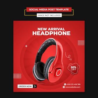 Modelo de postagem de mídia social do produto de marca de fone de ouvido e instagram