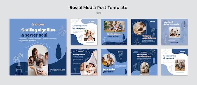 Modelo de postagem de mídia social doméstica