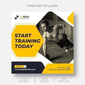 Modelo de postagem de mídia social e instagram de fitness