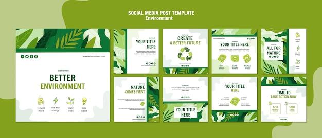 Modelo de postagem de mídia social ecológica