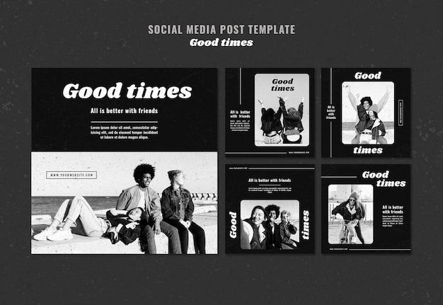 Modelo de postagem de mídia social em bons tempos
