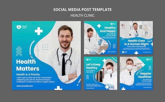 Modelo de postagem de mídia social em clínica de saúde