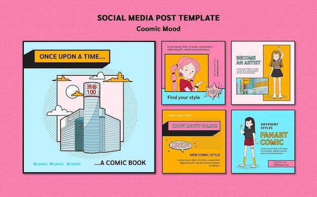 Modelo de postagem de mídia social em quadrinhos