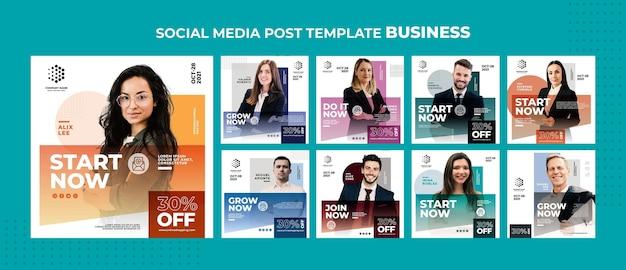Modelo de postagem de mídia social empresarial.