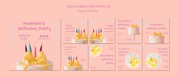 Modelo de postagem de mídia social feliz aniversário