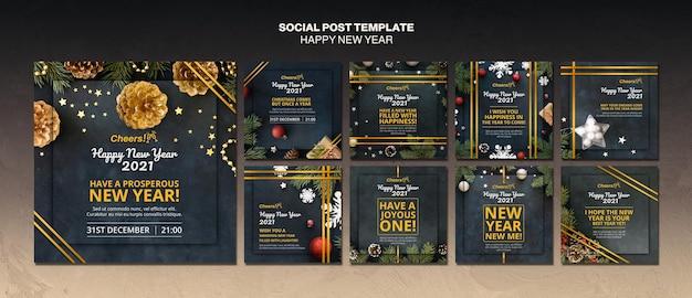 Modelo de postagem de mídia social feliz ano novo 2021