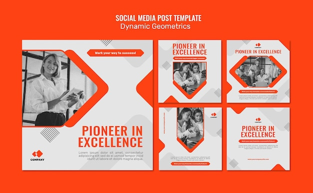 Modelo de postagem de mídia social geométrica dinâmica
