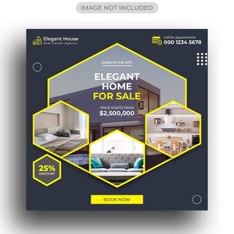 Modelo de postagem de mídia social imobiliária
