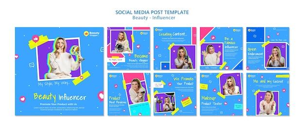 Modelo de postagem de mídia social influenciadora de beleza