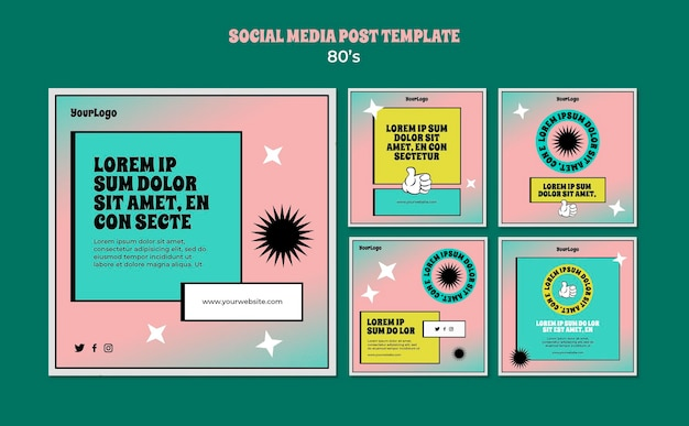 Modelo de postagem de mídia social inspirado nos anos 80