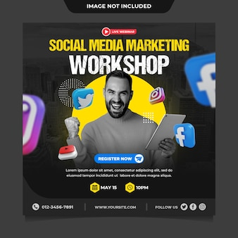 Modelo de postagem de mídia social instagram de workshop