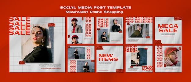 Modelo de postagem de mídia social maximalista de compras online