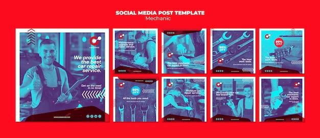 Modelo de postagem de mídia social mecânica