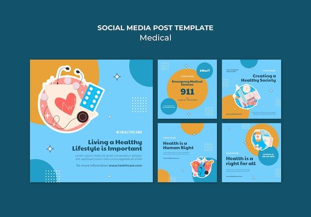 Modelo de postagem de mídia social médica
