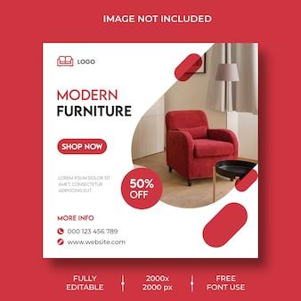 Modelo de postagem de mídia social no instagram do furniture