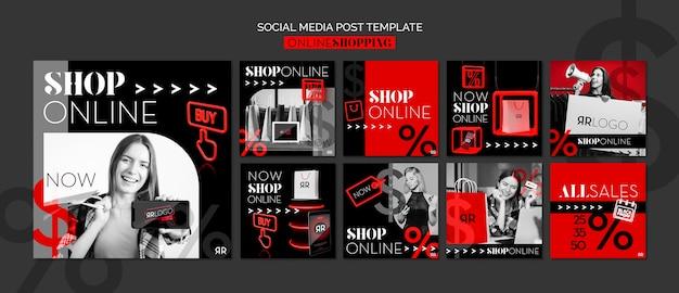 Modelo de postagem de mídia social online de loja de moda