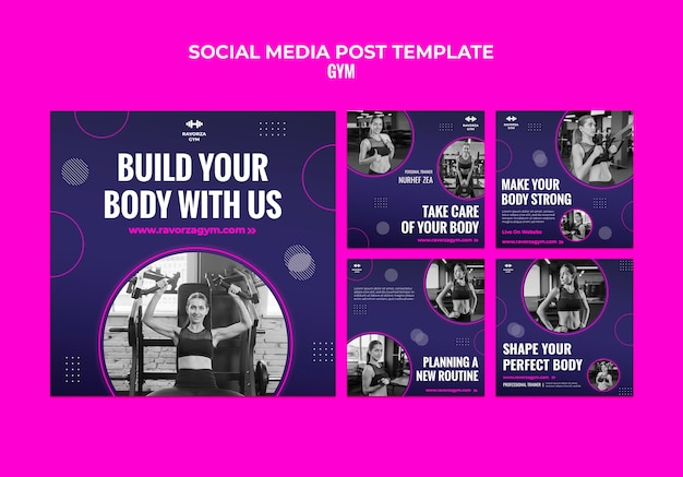 Modelo de postagem de mídia social para academia