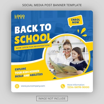 Modelo de postagem de mídia social para admissão escolar psd grátis