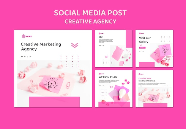 Modelo de postagem de mídia social para agência de criação