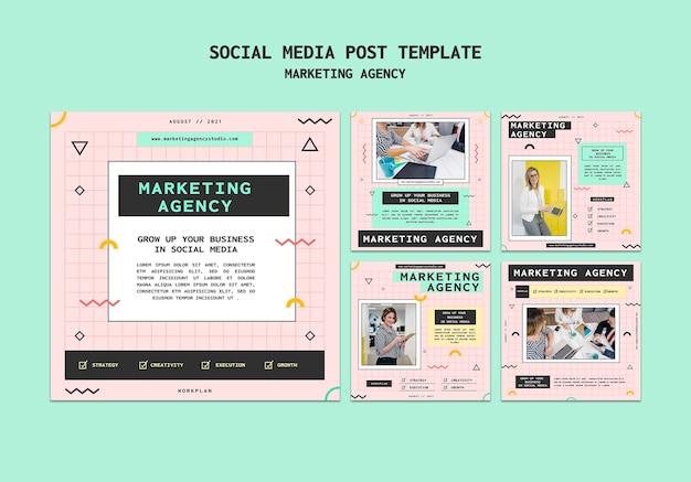 Modelo de postagem de mídia social para agência de marketing de mídia social