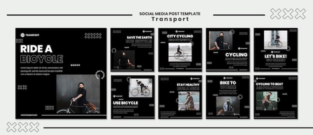 Modelo de postagem de mídia social para andar de bicicleta