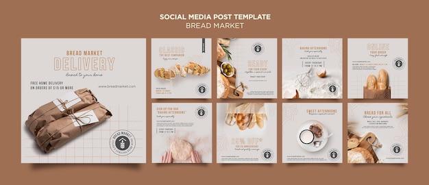 Modelo de postagem de mídia social para assar pão